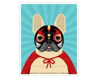 209D Super Hero Art - French Bulldog in Luchador Costume Wall Art - French Bulldog Art - Art for Boys Bedroom - Wrestler Decor - Dog Art