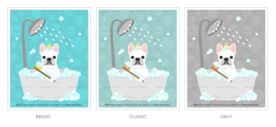 668D Bath Wall Art - White French Bulldog in Bubble Bath Wall Art - Dog  Prints - French Bulldog Print - Funny Dog Drawing - Frenchie Print
