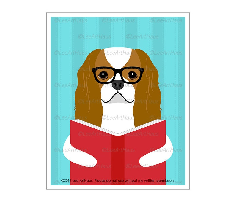 825D Cavalier King Charles Spaniel Reading Book Wall Art  image 0