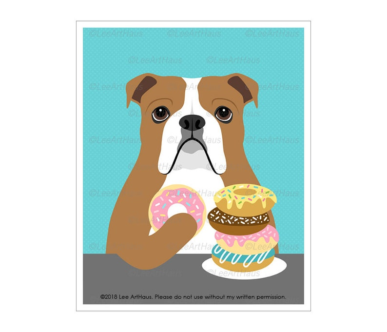 192D Dog Art Prints  English Bulldog Eating Donut Wall Art  Bright