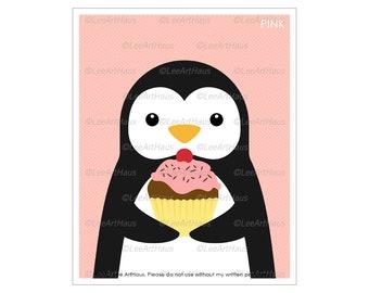 19A Cupcake Art - Penguin Eating Cupcake Wall Art - Cupcake Decor - Penguin Art Prints - Cute Baby Penguin - Chocolate Cupcake Drawing