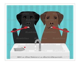 147D  Two Labrador Retriever Dogs Brushing Teeth Wall Art - Brush Your Teeth Art - Dog Drawing - Black Labrador Dog - Chocolate Labrador Dog