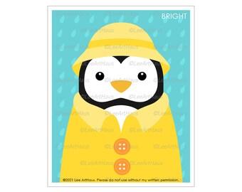 22A - Penguin Wearing Yellow Raincoat Wall Art - Yellow Rain Coat - Penguin Nursery Art - Rain Wall Art - Baby Penguin Decor - Rain Print