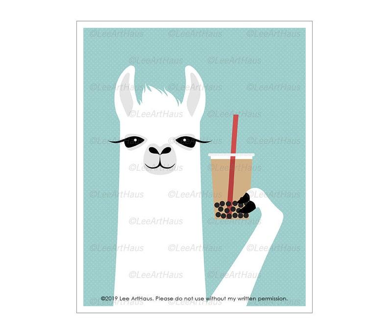 93J Animal Art  Llama Drinking Bubble Tea Wall Art  Boba Tea image 0