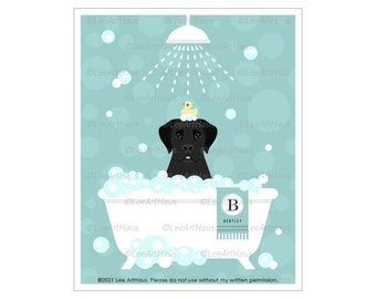 165N Personalized Name and Initial Black Labrador Retriever in Bath Wall Art - Dog Decor - Black Lab Gifts - Black Lab Art - Dog Print