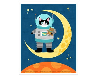 440D Astronaut Cat on Yellow Moon Wall Art - Black and White Cat Drawing - Space Theme Decor - Cat Art Prints - Cat in Space - Cat Gifts