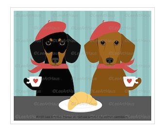 165D Two Dachshund Dogs Drinking Coffee and Eating Croissant Wall Art - Dog Couple Print - Dachshund Gift - Dachshund Art - Dog Art Print