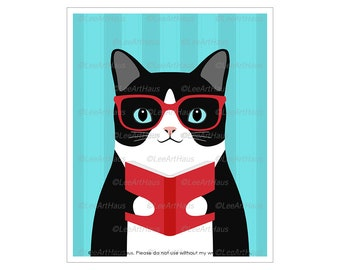 363D Fat Cat Reading Stack of Books Wall Art - Cat Reading Poster - Cat Reading a Book - Fat Cat Art - Black and White Cat Gifts - Cat Decor