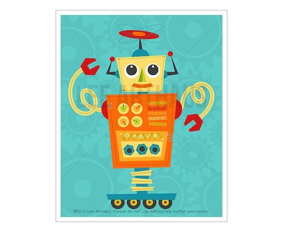 Robot Wall Art Robot 9 Wall Art Whimsical Robot Art | Etsy