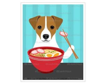 260D Jack Russell Art - Jack Russell Terrier Eating Ramen Bowl Wall Art - Dog Kitchen Decor - Ramen Poster - Dog Gifts - Dog Drawing