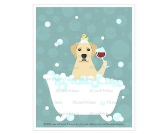 145D Yellow Labrador Retriever Dog Drinking Wine in Bubble Bath Wall Art - Golden Labrador Retriever Drawing - Dog Bath Art - Bath Decor