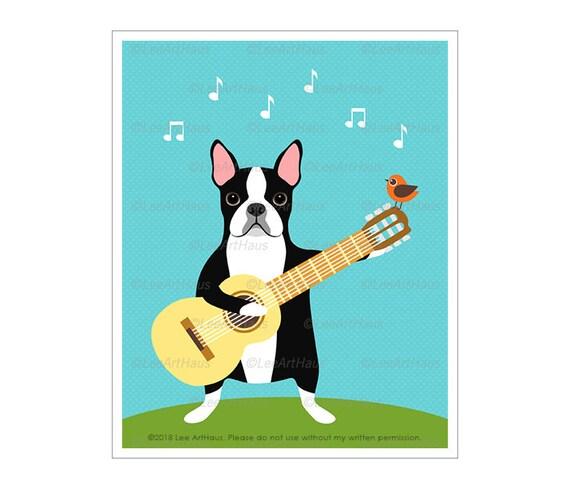 English Print Boston Terrier Dog Cat Kitten Picture Art