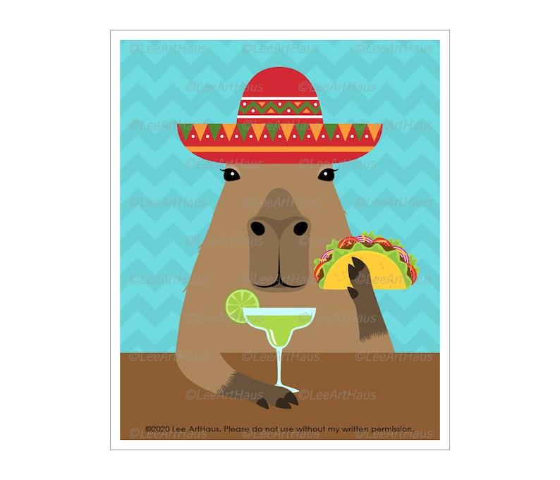 91J Taco Art Prints  Capybara Eating Taco and Drinking Bright