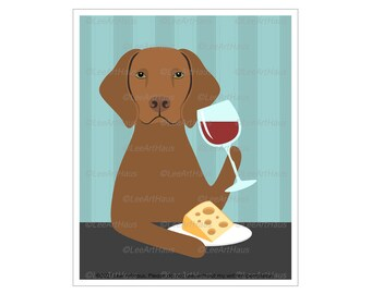 256D  Vizla Art - Vizsla Dog Drinking Wine and Eating Cheese Wall Art - Vizsla Decor - Wine and Cheese - Wine Art for Walls - Dog Artwork
