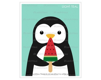 15A Penguin Eating Watermelon Popsicle Wall Art - Penguin Decor - Popsicle Art - Penguin Gift - Kitchen Decor - Girl Room Wall Decor