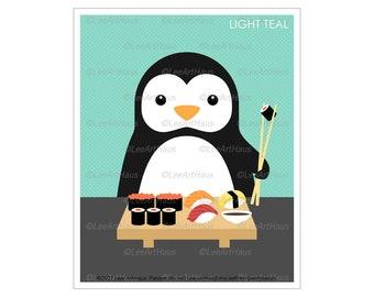 25A - Sushi Art Print - Penguin Eating Sushi Wall Art - Sushi Decor - Sushi Lover Gift - Animal Eating Sushi - Sushi Poster - Funny Penguin