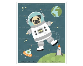 359D Dog Prlnt - Astronaut Pug Dog Floating in Space Wall Art - Boys Room Wall Art - Space Decor for Boys Room - Astronaut in Space
