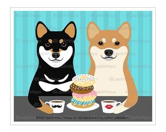 219D Shiba Inu Gifts - Shiba Inu Dogs Eating Donuts and Drinking Coffee Wall Art - Shiba Inu Decor - Donut Wall Sign - Donut and Coffee