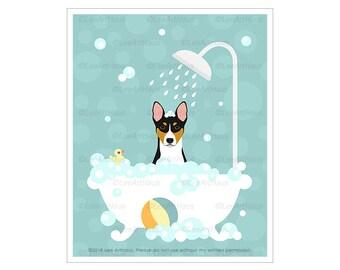 483D Puppy Art - Tricolor Basenji in Bubble Bath Bathtub Wall Art - Tri-color Basenji Print - Cute Bath Art - Dog Home Decor - Dog Drawing