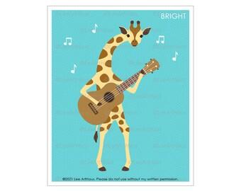 24A Giraffe Art - Giraffe Playing Guitar Wall Art - Giraffe Decor - Rock and Roll Print - Guitar Print- Music Themed Decor -  Giraffe Prints