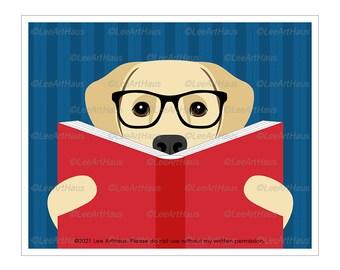 185D Yellow Lab Reading a Book Wall Art - Yellow Labrador Retriever Art - Reading Nook Decor - Book Theme Nursery - Dog Reading Book