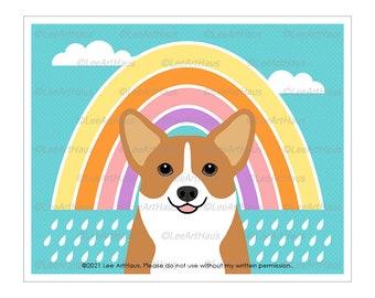 208D Corgi Dog with Cute Rainbow Wall Art - Corgi Gifts - Rainbow Decor - Rainbow Art - Raining Art - Dog Art Print - Corgi Art - Dog Gifts