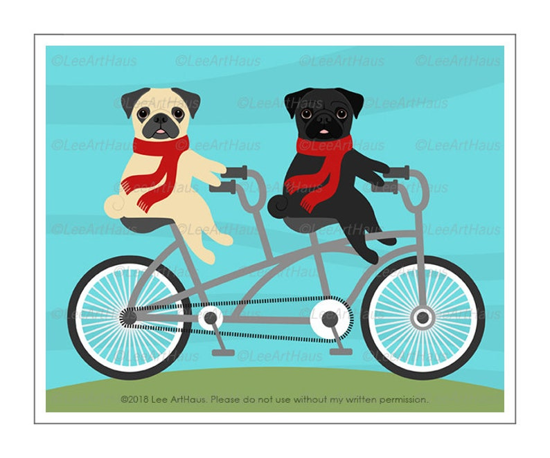 e5bf0a0dbc1 513D Dog Print Two Pugs on Red Tandem Bicycle Wall Art