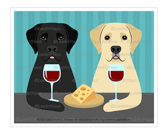 179D Two Labrador Retriever Dogs Drinking Wine and Eating Cheese Wall Art - Black Lab Art - Yellow Lab Art Print - Wine and Cheese Art