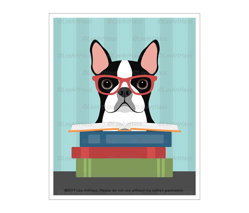 835D Book Art Prints  Boston Terrier with Stack of Books Wall Classic