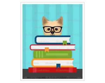 315D - Dog Reading Art - Yorkshire Terrier Reading Stack of Books Wall Art - Yorkshire Terrier Gifts - Yorkie Decor - Reading Decor