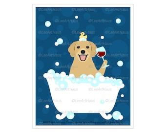 146D Golden Retriever Drinking Wine in Bath Tub Wall Art - Animal Drawing - Dog Art Prints - Golden Retriever Wall Art - Art for Bathroom