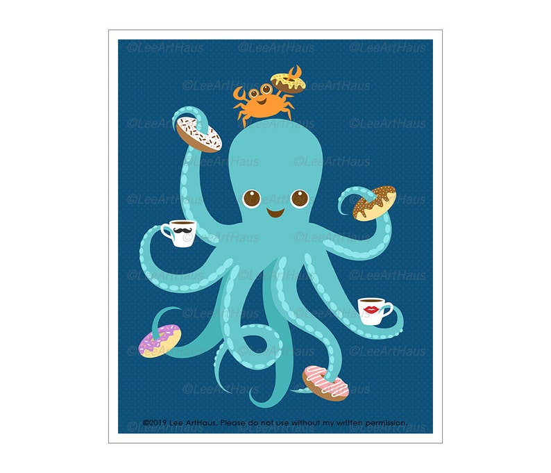 176A Octopus Drawing  Octopus Eating Donuts Wall Art  image 0