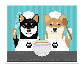 374D Baking Poster - Two Shiba Inu Dogs Baking Wall Art - Shiba Inu Art - Baker Gifts - Dog Kitchen Decor - Baking Art - Kitchen Wall Art