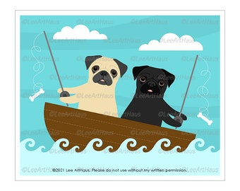 307D Dog Art - Two Pugs Fishing Wall Art - Black Pug Gifts - Pug Art - Fishing Decor - Fishing Decor - Dog Fishing - Pet Portrait - Pug Mom