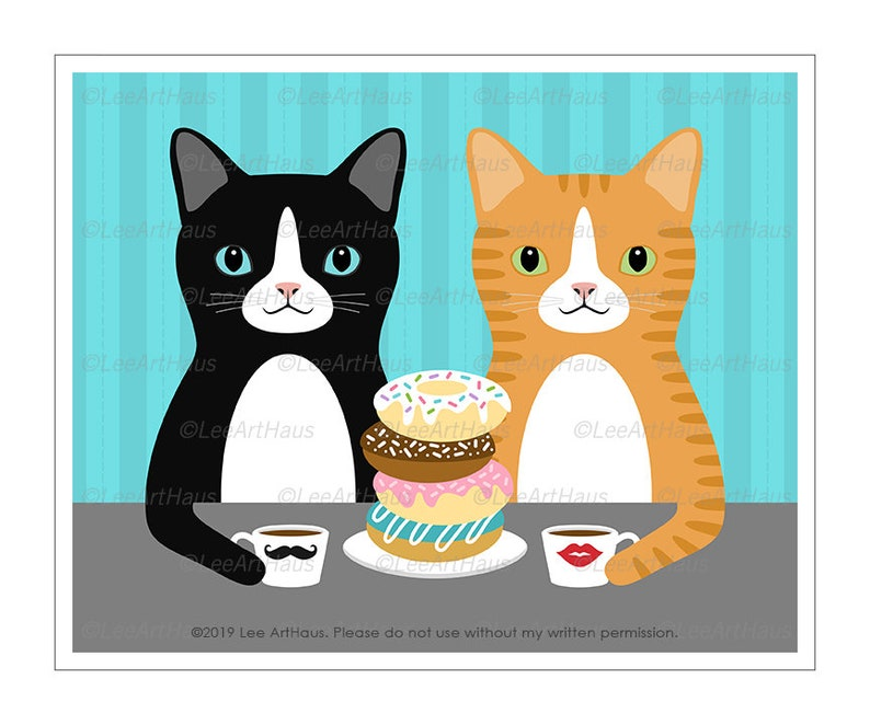 814D Cat Drawing  Two Cats Eating Donuts and Drinking Coffee image 0