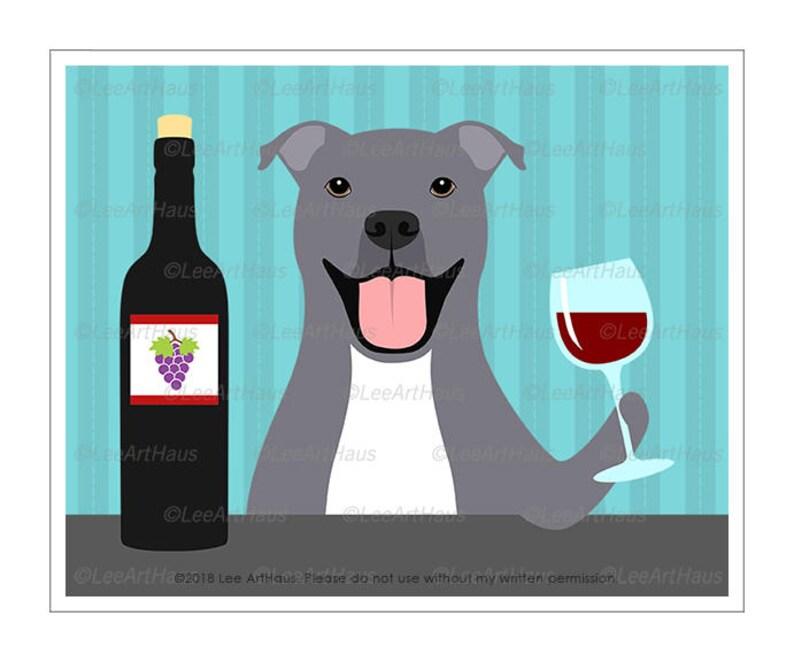 bd9e522964 414D Wine Art Prints Gray Pitbull Dog Drinking Bottle of | Etsy
