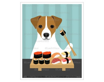262D Jack Russell Gifts - Jack Russell Terrier Eating Sushi Wall Art - Jack Russell Gifts - Sushi and Dog - Sushi Art - Dog Eating Sushi