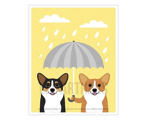 263D Dog Prints Two Corgi Dogs with Gray Umbrella Wall Art