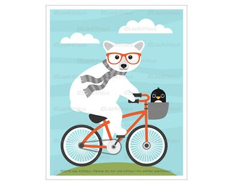 158A Polar Bear and Penguin Riding Bicycle Wall Art - Polar Bear Drawing - Orange Bicycle Art Prints - Penguin Art - Bicycle Theme Nursery