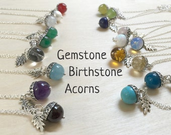 Birthstone Acorn Necklace - Your Choice of Month | Birthstone Necklace | Birthday Gift | Gemstone Acorn Charm Necklace | Nature Jewelry