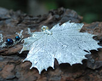 Large Fallen Silver Maple Leaf Necklace | REAL Maple Leaf | Electroformed Jewelry | Nature Jewelry | Silver Maple Leaf Charm | Leaf Pendant