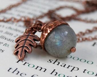 Labradorite and Copper Acorn Necklace | Gemstone Acorn Necklace | Labradorite Gemstone Necklace | Fall Copper Acorn Charm Necklace