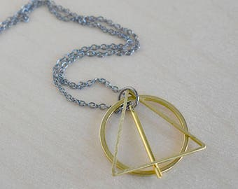 The Wand, the Stone & the Cloak | Geometric Necklace | Minimal Shape Pendant Design | Magical Wizard Symbol Necklace