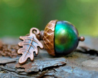 Sylvan Magic Acorn Necklace | Iridescent Green and Copper Acorn Pendant | Nature Jewelry | Fall Acorn Charm Necklace