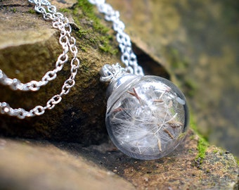 Dandelion Wish Bubble Necklace | Small Glass Orb Dandelion Necklace | Real Dandelion Wishes Pendant | Whimsical Gift