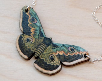 Emperor Moth Necklace | Forest Moth Necklace | Wooden Moth Pendant