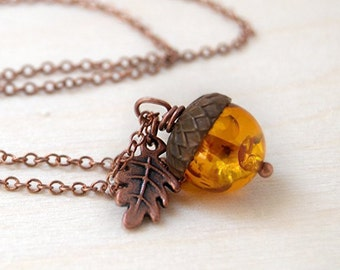 Amber and Copper Acorn Necklace | Cute Nature Acorn Charm Necklace | Lucite/Man Made Amber Acorn Necklace | Woodland Acorn | Nature Jewelry