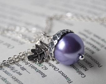 Lilac and Silver Acorn Necklace   Purple Pearl Acorn Charm Necklace   Nature Jewelry   Cute Fall Acorn Pendant