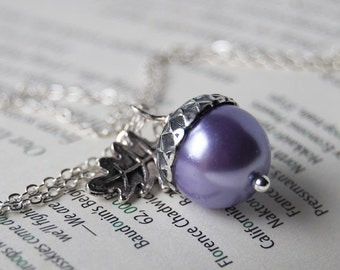 Lilac and Silver Acorn Necklace | Purple Pearl Acorn Charm Necklace | Nature Jewelry | Cute Fall Acorn Pendant
