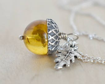 Baltic Amber and Silver Acorn Necklace | Cute Nature Acorn Charm Necklace | Gemstone Amber Acorn Necklace | Woodland Acorn | Nature Jewelry